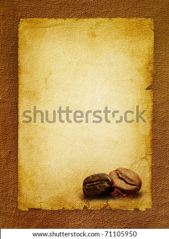 Coffee grunge background with coffee beans.Vintage coffee-shop menu - spotted textured blank. - stock photo