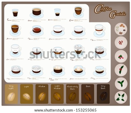 Coffee Guide, An Illustration Collection of Nineteen Coffee Drink Types and Roasted Coffee Beans with Processing of Coffee  - stock photo