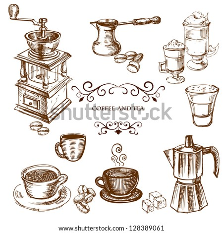 Coffee hand drawn elements. Set of drawings for design - stock photo