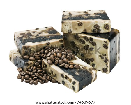 Coffee handmade soap and grain