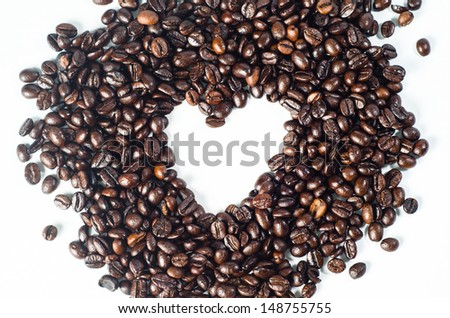 Coffee heart on white background  - stock photo