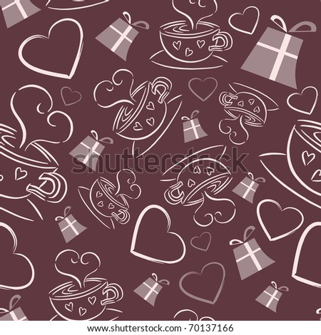 Coffee, hearts and gifts seamless pattern