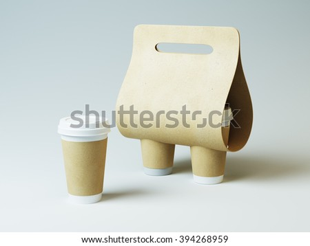 Coffee holder mock up. Craft cups and simply light background - stock photo