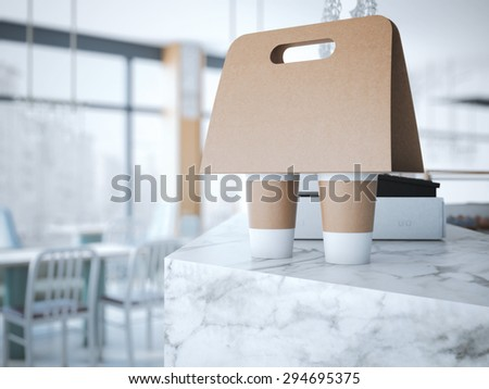Coffee Holder on the table . 3d rendering - stock photo