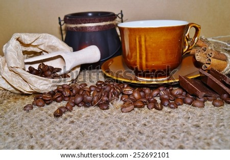 Coffee - I love coffee - coffee beans in a jar and heat in the cup - stock photo