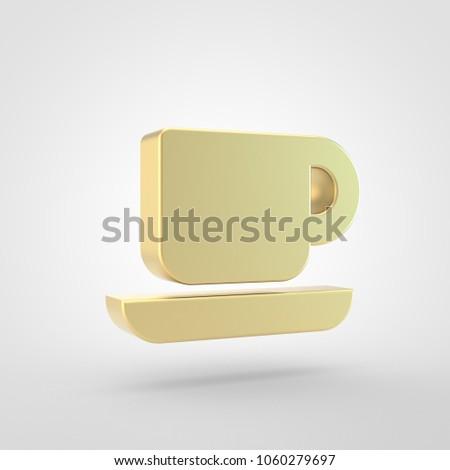 Coffee Icon 3 D Render Golden Coffee Stock Illustration 1060279697