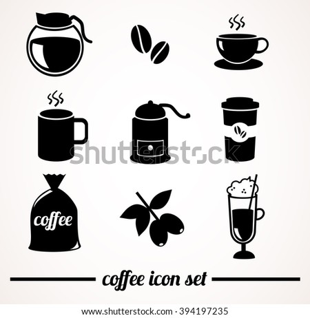 Coffee icon set. - stock photo