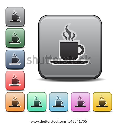 Coffee Icon with Color Variations. Raster version, vector also available. - stock photo