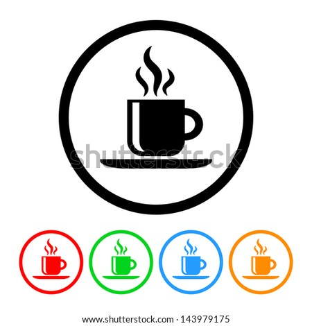 Coffee Icon with Four Color Variations - Raster Version.  Vector Also Available. - stock photo