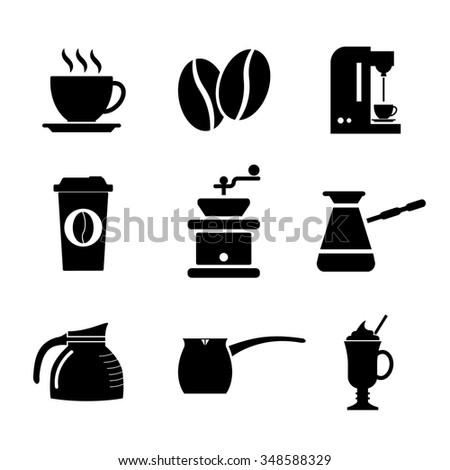 Coffee Icons. Flat design style - stock photo