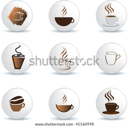 coffee icons on white buttons as illustration