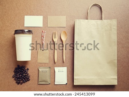 Coffee identity branding mockup set top view with retro filter effect - stock photo