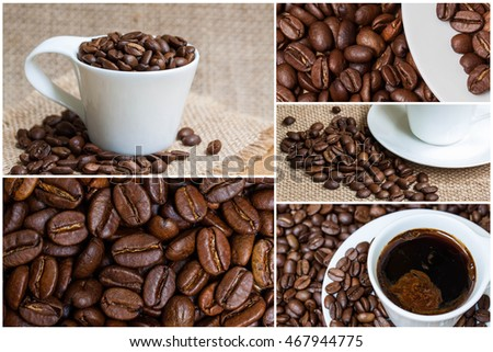 Coffee images collage wallpaper, mockup texture