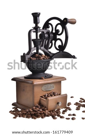 coffee in a coffee grinder - stock photo