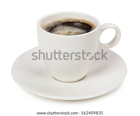 Coffee in a cup isolated on white background - stock photo