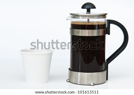 Coffee in a French press with take out paper cup on white - stock photo
