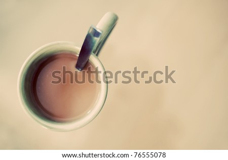 Coffee in a mug in a vintage style. - stock photo