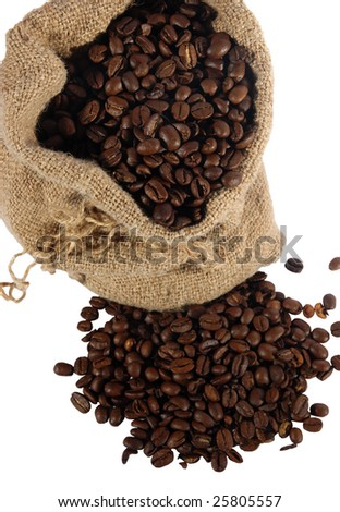 Coffee in a sack and spilled on a white background