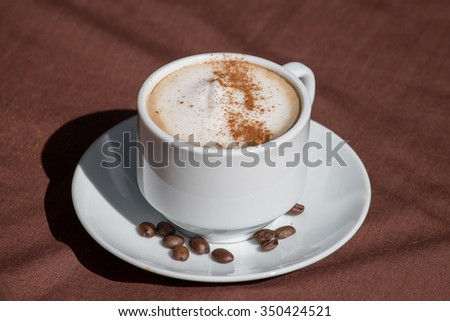 Coffee in a white cup, close up
