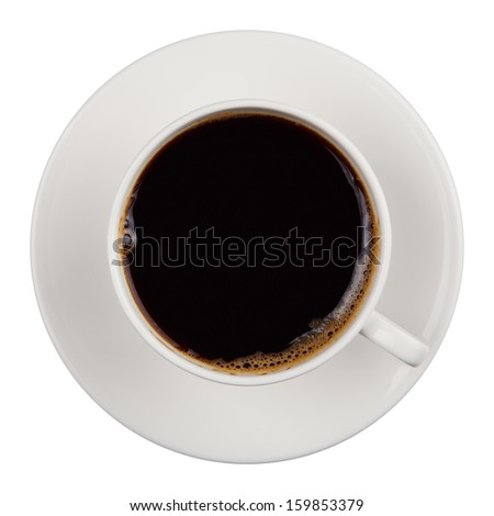 coffee in a white cup on a white background