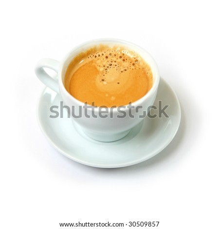 Coffee in a white porcelain cup on a white background