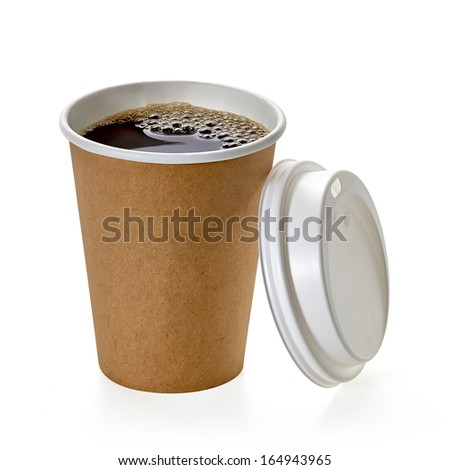 Coffee in blank craft take away cup isolated on white bacground with clipping path - stock photo