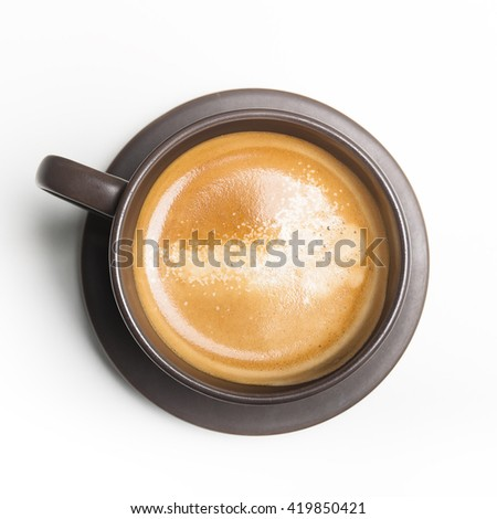 coffee in brown cup. top view - stock photo