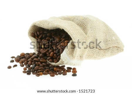 coffee in burlap sack #3 - stock photo