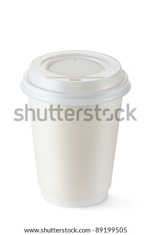 Coffee in disposable cup with plastic lid. Isolated on a white. - stock photo