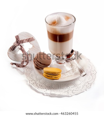 Coffee in glass.Dessert.Cake macaron.The image on a white background.