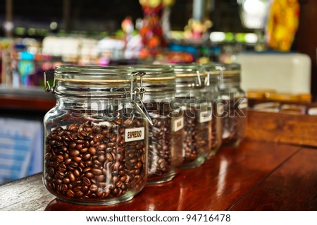 coffee in glass jars - stock photo