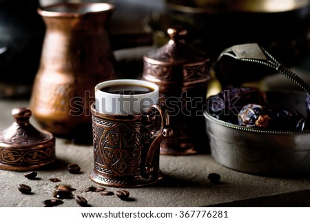 coffee in metal Turkish traditional cups. selective focus - stock photo
