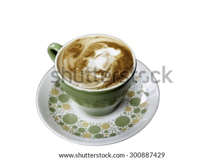 Coffee in retro styled china cup and saucer isolated on white background. - stock photo