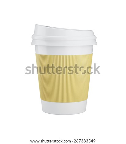 Coffee in takeaway cup isolated on white background - stock photo