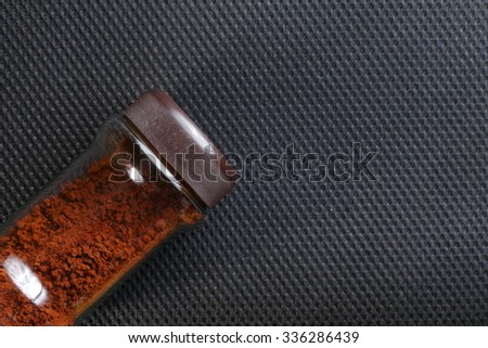 Coffee in the glass bottle with brown cap represent the drink and beverage concept related idea. - stock photo