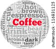 Coffee info-text graphics and arrangement concept on white background (word cloud) - stock photo