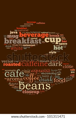 Coffee info-text graphics and arrangement concept (word cloud) - stock photo