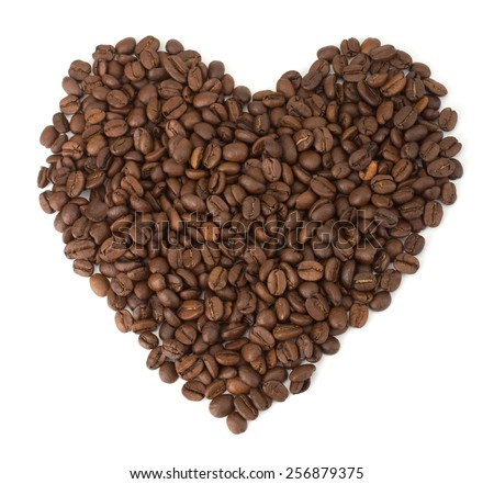 Coffee isolated on white background in shape of heart - stock photo