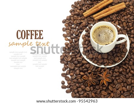 Coffee isolated on white background with sample text - stock photo
