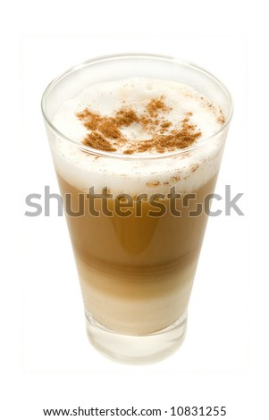 Coffee Latte in a glass isolated on white - stock photo