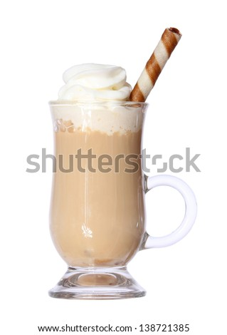 Coffee Latte in glass irish mug with wafer isolated on white background - stock photo