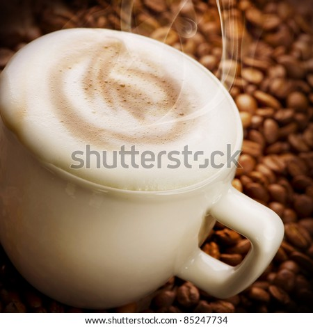 Coffee Latte or Cappuccino - stock photo