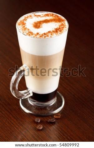 coffee latte with cinnamon - stock photo