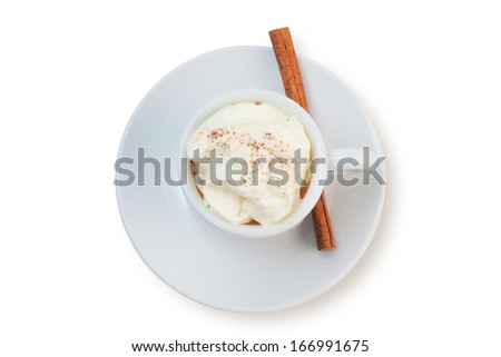 coffee latte with cinnamon stick isolated on white. - stock photo
