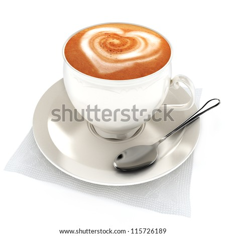 Coffee latte with heart design on a white background. - stock photo