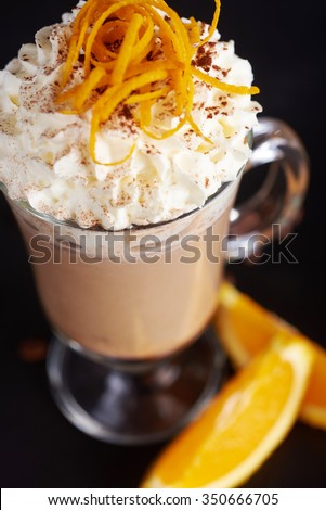coffee latte with orange skins