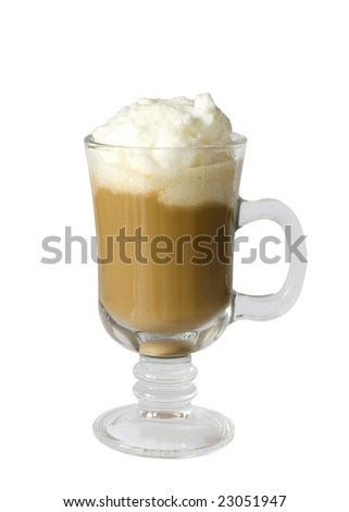 Coffee latte with whipped cream isolated on white background - stock photo