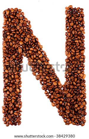 coffee letter N on white background