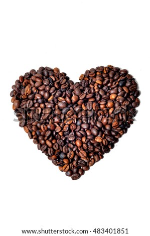 Coffee love shape in white background
