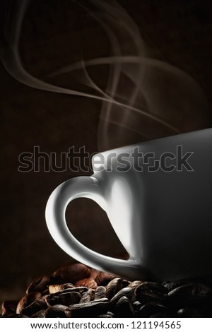 Coffee love. Warm cup of coffee - stock photo